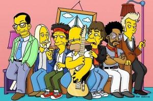 слева на право: Элвис Костелло, Том Пэтти, Кейт Ричрдс, Гомер Симпсон, Мик Джаггер, Ленни Кравитц, Брайан Зетцер